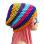 Crochet Slouch Rainbow Beanie- Ultimate Slacker Striped Beanie Hat