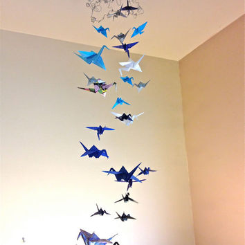 Origami Crane Mobile Hanging From Swirly WIre