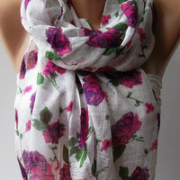 Pink Flowers/ Shawl/Soft