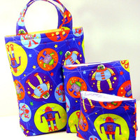 3 pcs Lunch Set, Insulated Lunch Tote, Sandwich Bag, Snack Bag - PICK YOUR FABRICS, Back to school, eco-friendly reusable bags - 3 sacs
