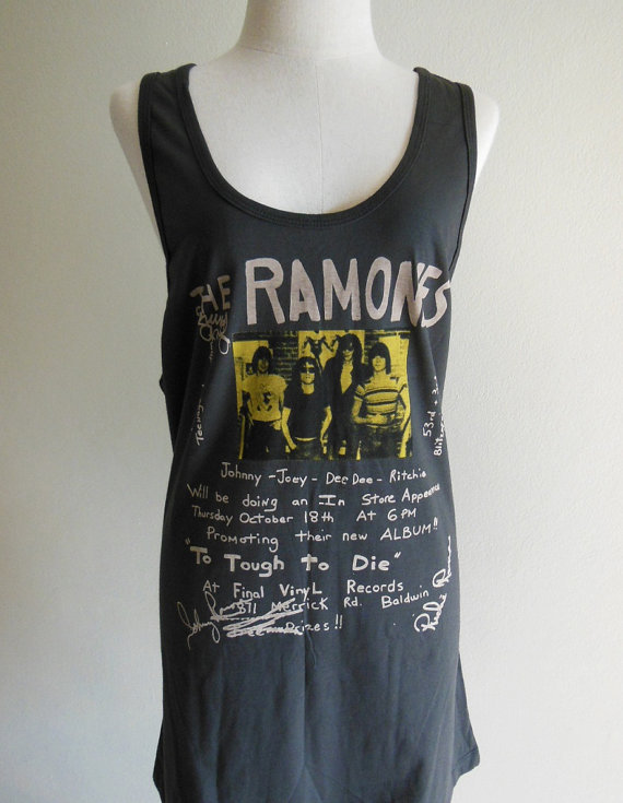 Ramones Shirt Too Tough To Die Punk Rock Heavy Metal Rock  --  Music Shirt Women T-Shirt Tank Top Sleeveless T-Shirt Black Shirt Size XL