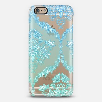 Blue Green Floral Lace on Transparent iPhone 6 case by Micklyn Le Feuvre | Casetify