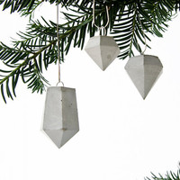 3 Concrete Diamond Ornaments, Holiday Concrete Decor, Handmade Hanging Cement Diamonds, Tree Ornaments, UK, Christmas