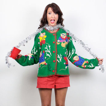 Vintage Ugly Christmas Sweater Green Teddy Bear Ugly Xmas Sweater Green Holiday Cardigan Jumper Knit Tacky Christmas Sweater Party M Medium