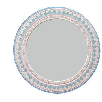 Round Mosaic Mirror in Aqua and Gray