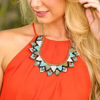 Don't Pull Me Down Necklace-Coral