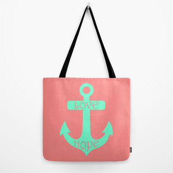 Anchor Coral Mint Tote Bag by Beautiful Homes