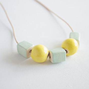 Mint Green and Yellow Ceramic Beaded Necklace