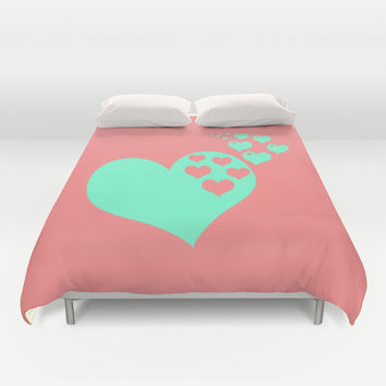 Love Coral Mint Duvet Cover by Beautiful Homes