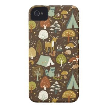 Vintage Floral Pattern with Forest Animals iPhone 4 Case