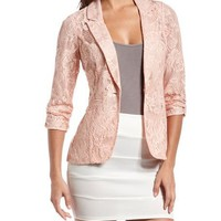 Pink Crochet Lace Blazer: Charlotte Russe