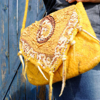 Felted handbag yellow with unique ethnic designs