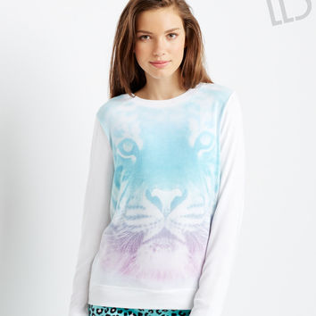 Aeropostale LLD Long Sleeve Sublimated Tiger Sweatshirt - Bleach,
