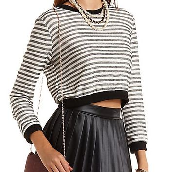 Cropped & Striped Sweatshirt by Charlotte Russe - Black Combo