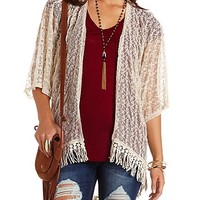 High-Low Lace & Fringe Kimono Top by Charlotte Russe - Ivory