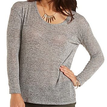 Malrled Long Sleeve Top by Charlotte Russe - Charcoal