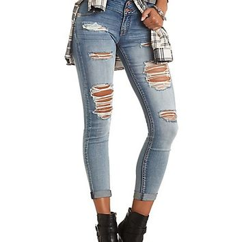 "Refuge ""Mid-Rise Skinny"" Destroyed Jeans - Med Wash Denim"