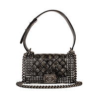"""Chanel Limited Edition """"Dallas"""" Black White Faded Studded Small Boy Bag"""