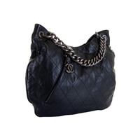 Chanel Large Black Lambskin Quilted Tote Bag