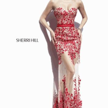 Sherri Hill 2015 Prom or Pageant Dress Style 1935 Size 00 Red/Nude