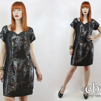 Vintage Black Sequin Party Dress L XL Black Sequin Dress Black Party Dress Black Dress Sequin Mini Dress Sequin Dress L Sequin Dress XL