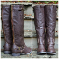 Montana Maple Brown Contrast Zipper Boots