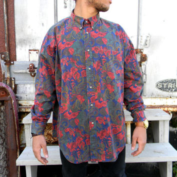 Vintage Mens Casual Button Up Shirt - 90s Paisley Long Sleeved Men's Shirt w Abstract Autumn Leaves - XL - Hip Hop Dancer Street Fashion