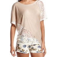 Lace Panel Knit Top: Charlotte Russe