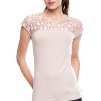 Armani Exchange Lace Inset Top: Amazon.com: Clothing