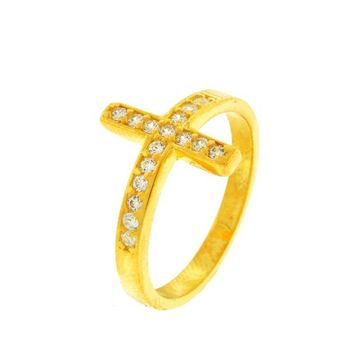 Gold Plated Cubic Zirconia Bezel Sideway Cross Ring