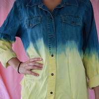 Vintage Yellow Ombre Denim Shirt