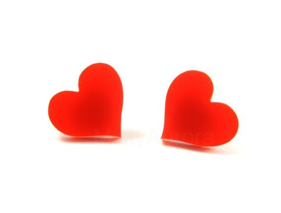 Red Heart Earrings - Chic Earrings - Red Jewelry - Romantic Earrings - Everyday Jewelry - Free Shipping