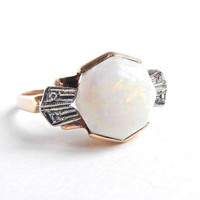 10K Gold Opal & Diamond Ring -  Vintage Size 7 Fine Art Deco Jewelry / Opalescent