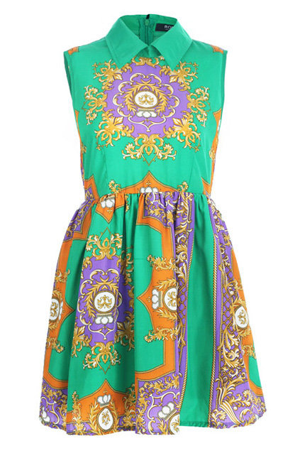 Retro Printing Green Dress [NCSKI0343] - $36.09 :