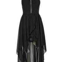 Black Chiffon High-Low Sleeveless Dress with Zipper Front