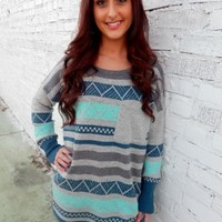 Aqua Pattern Sweater
