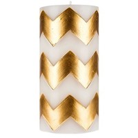 "3"" x 6"" White Pillar Candle with Gold Chevron 