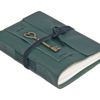 Green Leather Wrap Journal with Lined Paper and Heart Key Bookmark - Ready to Ship