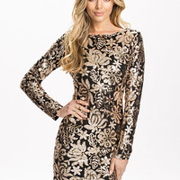Gold Floral Detailed Sequin Dress