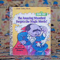 Little Golden Book The Amazing Mumford Forgets the Magic Words! featuring Jim Henson's Muppets Vintage Picture Book Sesame Street