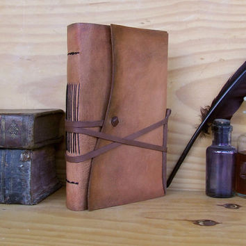 Rustic Journal, Antiqued Leather, Natural Goatskin, Personalized, Free Monogramming