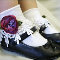 K35 white purple rose lace socks girls size