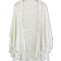 Hand Knit Fringed White Poncho White Free