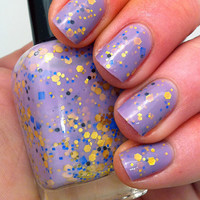 Nail polish - &quot;Regal beginnings&quot; gold, blue and black glitter in a light purple base