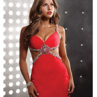 Jasz Couture - Sexy Watermelon Gown With Cutout And Embellishments On Sides Prom 2015