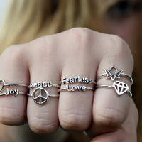 Poetry Ring , Sterling silver ring with poetic words and Symbols
