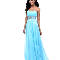 Aqua Beaded Chiffon Pleated Strapless Sweetheart Long Dress Prom 2015