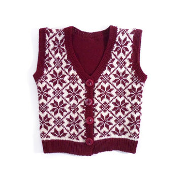 Knitted Baby Vest - Red and White, 6-12 months