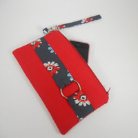 Red Wristlet Wallet, Clutch Purse, iPhone Wristlet, Detachable Strap, Small Purse, Zipper Wristlet, Handmade Wristlet Purse, Ready to Ship