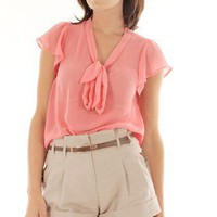 CORAL CHIFFON TIE UP BLOUSE @ KiwiLook fashion